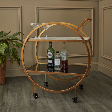 Brass & Marble Bar Cart in Tables from Oriana B. www.orianab.com