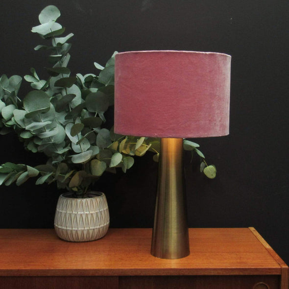 Brass Table Lamp Blush Pink Velvet Shade in Lighting from Oriana B. www.orianab.com