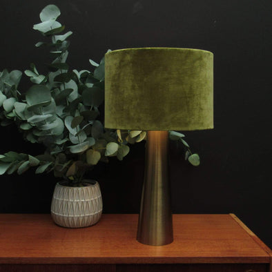Brass Table Lamp Olive Green Velvet in Lighting from Oriana B. www.orianab.com