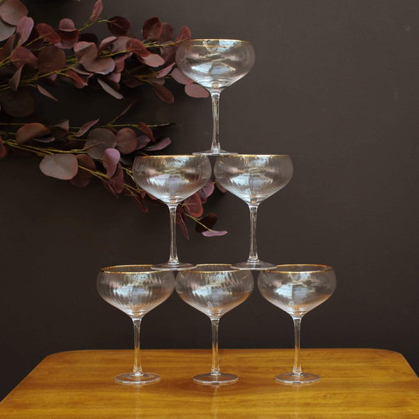 Champagne Coupe Glasses with Gold Rims | Set of 6 in Glasses from Oriana B. www.orianab.com