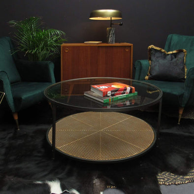 Circular Black Metal Coffee Table in Tables from Oriana B. www.orianab.com