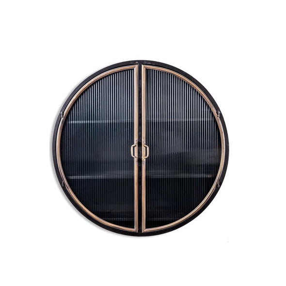 Circular Wall Shelf | Black & Gold in Cabinets & Storage from Oriana B. www.orianab.com