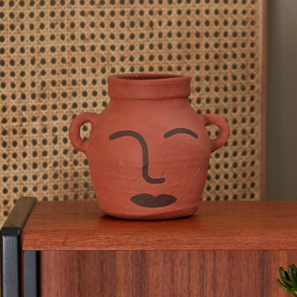 Clay Face Vase | Natural Dark Brown in Vases & Plant Pots from Oriana B. www.orianab.com