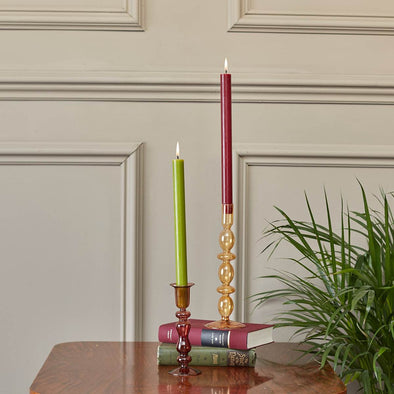Coral Glass Candlestick in Candles & Holders from Oriana B. www.orianab.com