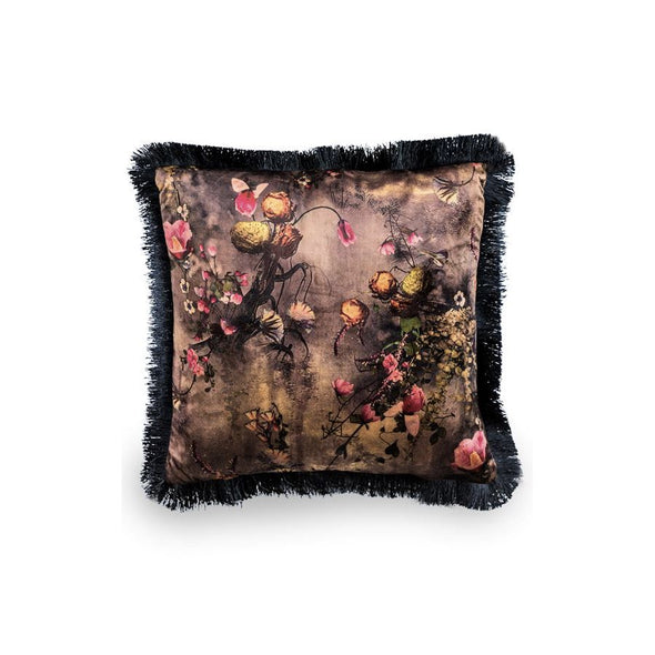 Dark Floral Black Fringed Velvet Cushion in Cushions from Oriana B. www.orianab.com