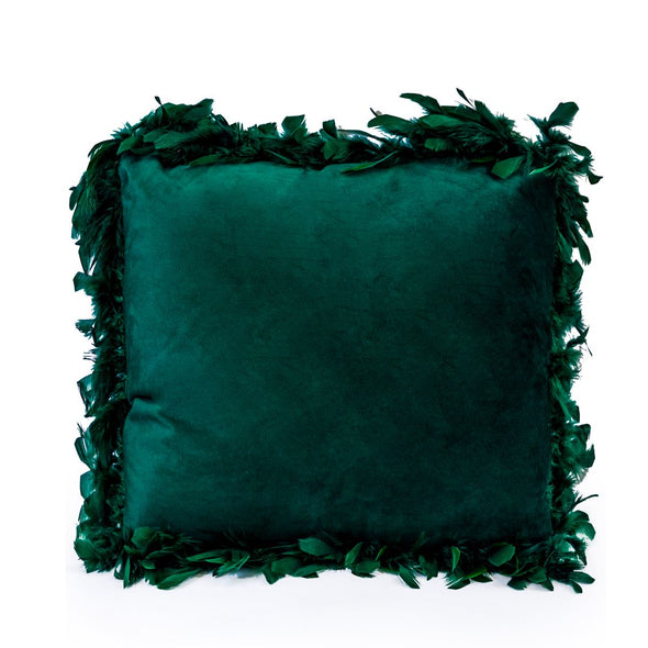 Dark Green Feather Edged Square Velvet Cushion in Cushions from Oriana B. www.orianab.com
