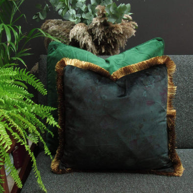 Deep Sea Green Floral Velvet Cushion Gold Fringe in Cushions from Oriana B. www.orianab.com