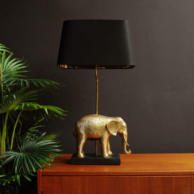 Elephant Table Lamp | Black & Gold in Lighting from Oriana B. www.orianab.com
