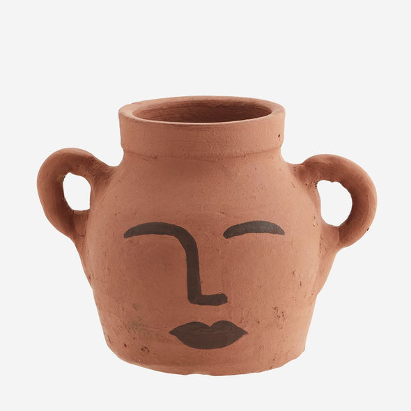 Face Decor Clay Vase | Natural Dark Brown in Vases & Plant Pots from Oriana B. www.orianab.com