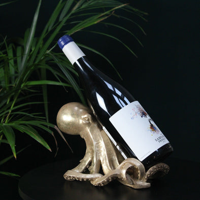 Gold Octopus Wine Bottle Holder in Table from Oriana B. www.orianab.com