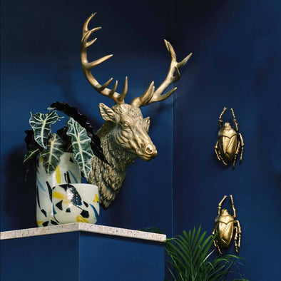 Gold Stag Head Wall Mount in Wall Art from Oriana B. www.orianab.com