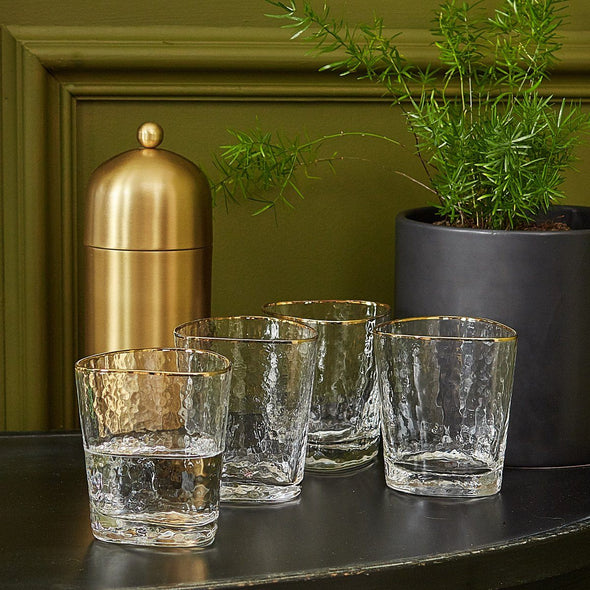 Gold Trimmed Tumblers | Set of 4 in Cocktail from Oriana B. www.orianab.com