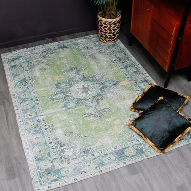 Green Vintage Rug in Rugs from Oriana B. www.orianab.com