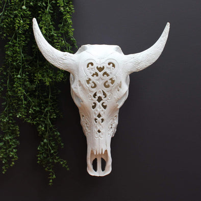 Large Carved Bison Head | White in Wall Art from Oriana B. www.orianab.com