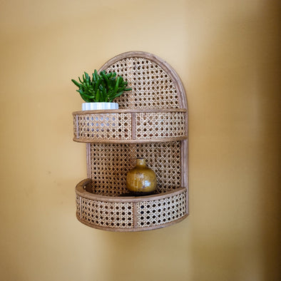 Large Rattan Wall Shelf | Natural in Storage from Oriana B. www.orianab.com