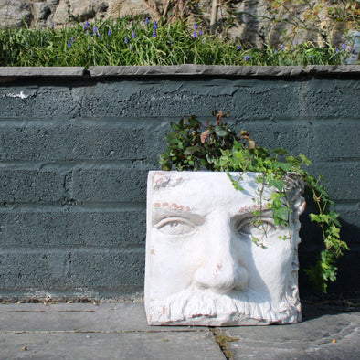 Large Rustic Stone Effect Classical Face Planter in Outdoor from Oriana B. www.orianab.com