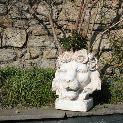 Large Rustic Stone Effect Classical Lion Head Planter in Outdoor from Oriana B. www.orianab.com