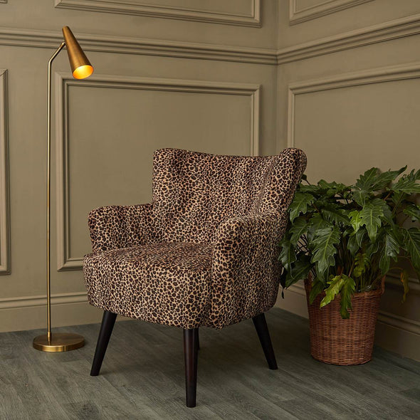 Leopard Velvet Fireside Chair in Seating from Oriana B. www.orianab.com