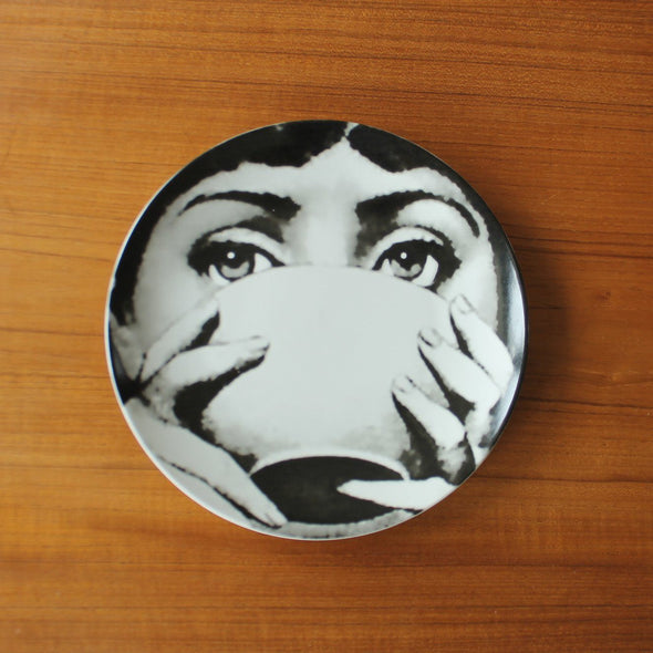Lina Cavalieri Wall Plates | Black and White in Wall Art Bowl from Oriana B. www.orianab.com