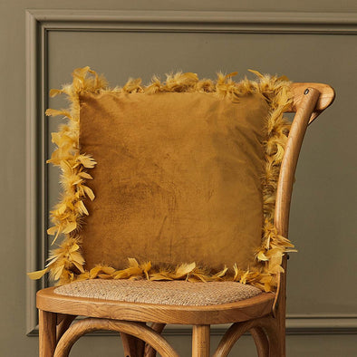 Mustard Yellow Feather Edged Square Velvet Cushion in Cushions from Oriana B. www.orianab.com
