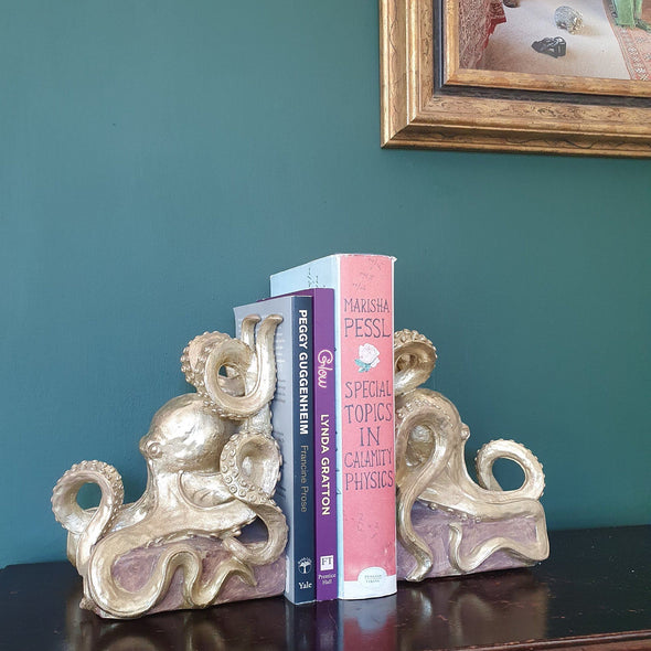 Octopus Bookends | Antique Gold in Ornaments from Oriana B. www.orianab.com