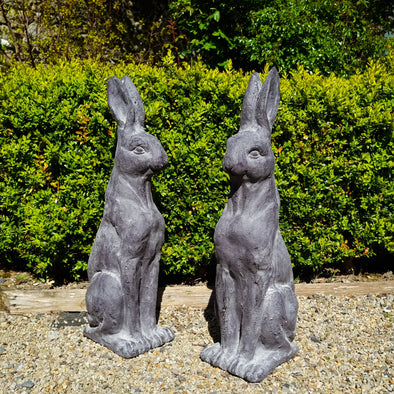 Pair of Large Rustic Rabbit Figures in Outdoor from Oriana B. www.orianab.com