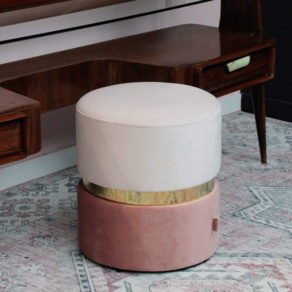 Pink & Gold Velvet Footstool in Footstools from Oriana B. www.orianab.com