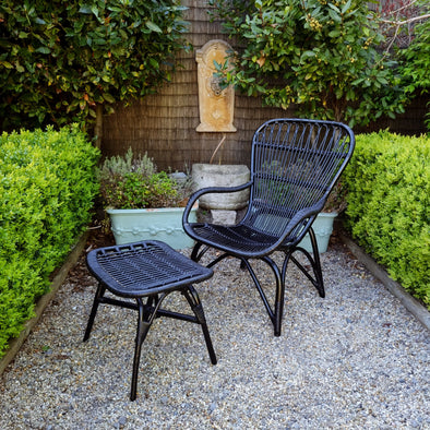 Rattan Arm Chair and Footstool in Outdoor from Oriana B. www.orianab.com