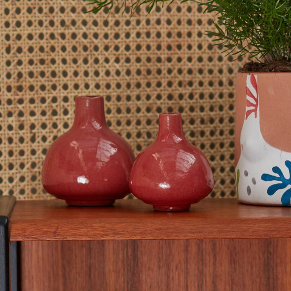 Red Stoneware Vase Ornament | Set of 2 in Ornaments from Oriana B. www.orianab.com