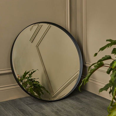 Round Matt Black Mirror | 75 cm in Mirrors from Oriana B. www.orianab.com