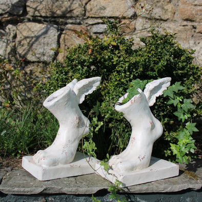 Rustic Stone Effect Winged Foot Planters | Set of 2 in Outdoor from Oriana B. www.orianab.com