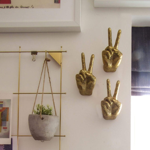Set of 4 | Peace Wall Hands | Gold in Wall Art from Oriana B. www.orianab.com