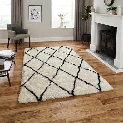 Shaggy Ivory & Black Rug in Rugs from Oriana B. www.orianab.com