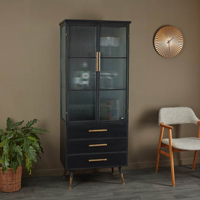 Tall Black Metal Cabinet | 2 Doors 3 Drawers in Cabinets & Storage from Oriana B. www.orianab.com