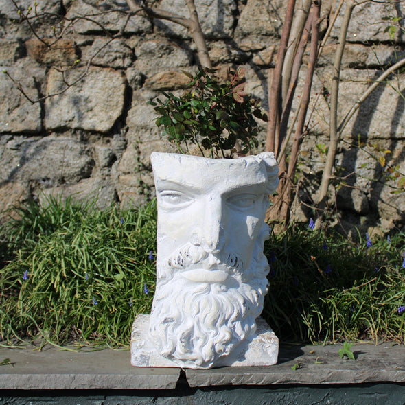 Tall Rustic Stone Effect Classical Face Planter in Outdoor from Oriana B. www.orianab.com