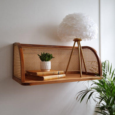 Teak & Rattan Wall Desk Shelf in Tables from Oriana B. www.orianab.com