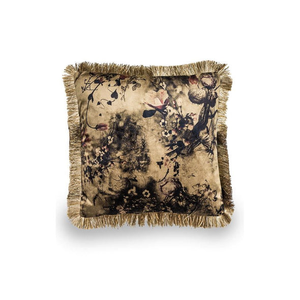 Velvet Floral Cushion Champagne Fringe in Cushions from Oriana B. www.orianab.com