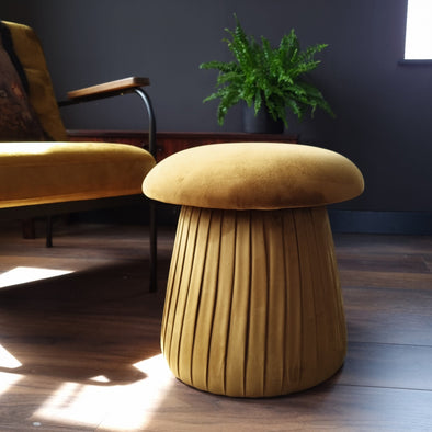 Velvet Mustard Mushroom Footstool in Footstools from Oriana B. www.orianab.com
