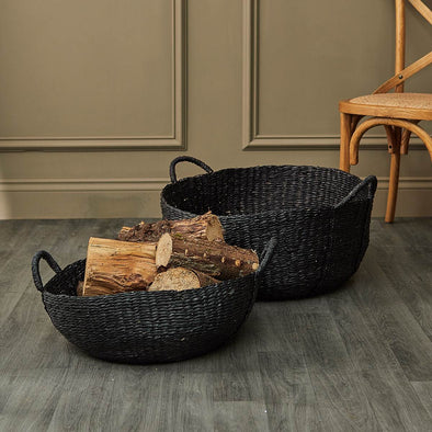 Villa Collection | Set of 2 Black Seagrass Basket in Storage from Oriana B. www.orianab.com