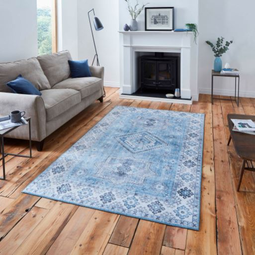 Vintage Light Blue Rug in Rugs from Oriana B. www.orianab.com