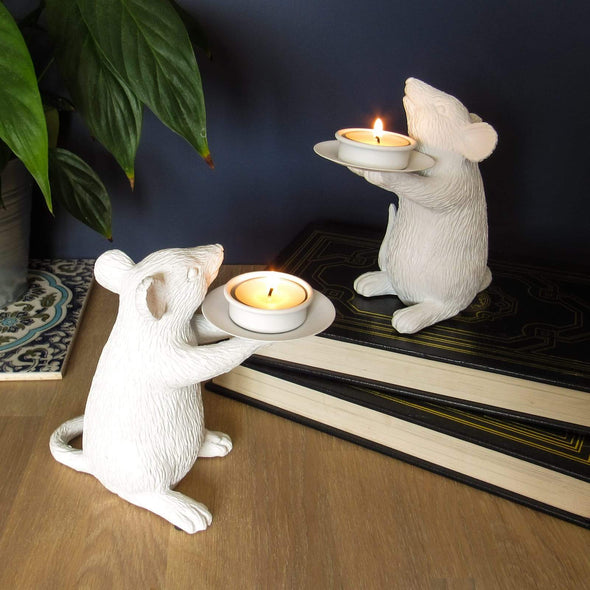 White Mice Candle Holders in Candles & Holders from Oriana B. www.orianab.com