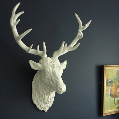 White Stag Head Wall Mount in Wall Art from Oriana B. www.orianab.com