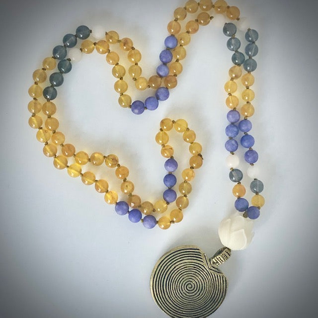 Spiral Lotus 108 bead prayer mala