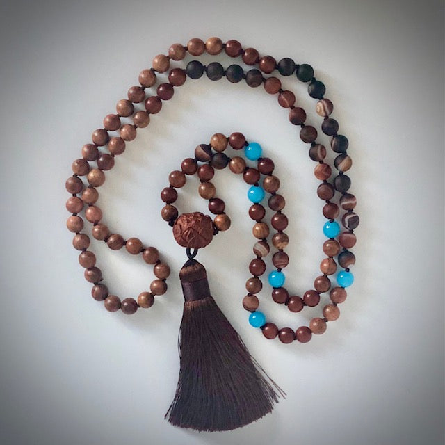 Agate Lotus 108 bead prayer mala