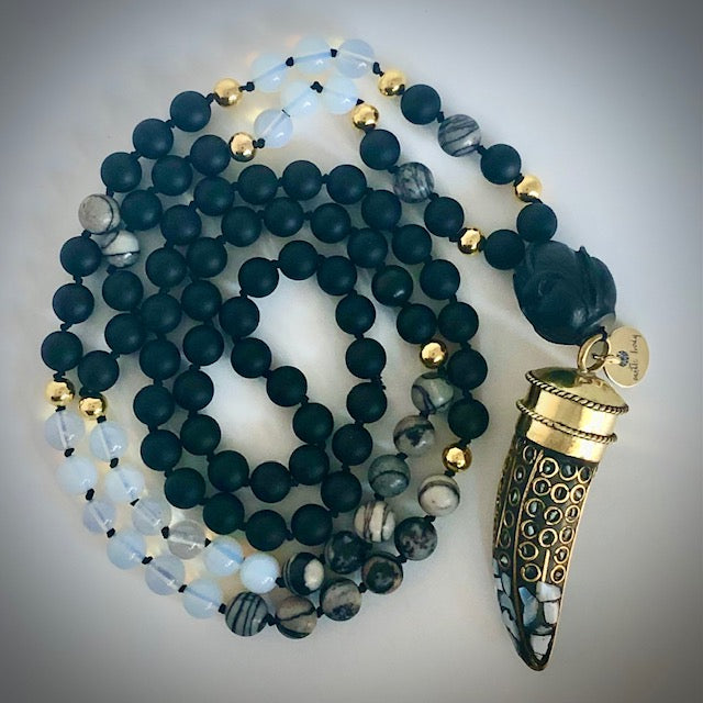 Mother of Pearl Horn 108 bead prayer mala