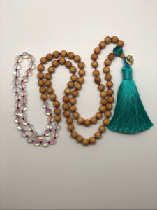 """ Adular and Wood"" 108 knotted mala"