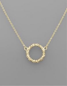 Brass Cluster Circle Necklace
