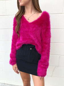 Hot Pink Fuzzy Sweater