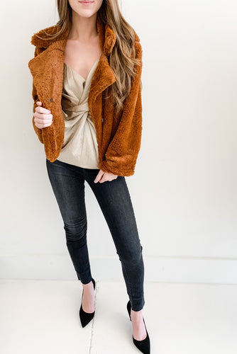 Caramel Faux Fur Crop Jacket