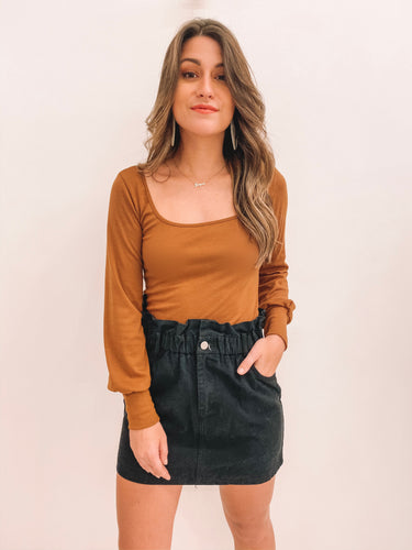 Toffee Square Neck Top